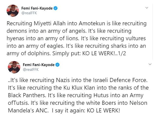 Recruiting Miyetti Allah into Amotekun is like recruiting demons into an army of angels- FFK 4