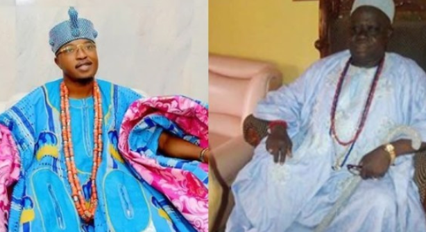 Photo of Oluwo of Iwo accused of beating up Agbowu of Ogbagbaa during a Peace Meeting