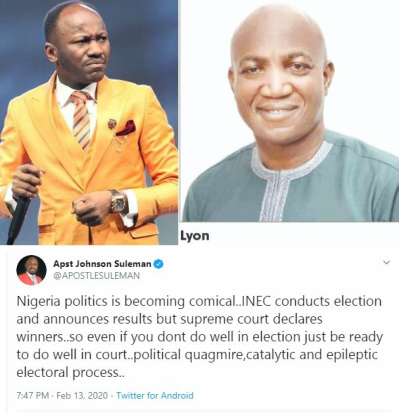 Photo of Apostle Suleman mocks Nigerian electoral system as Supreme Court sacks David Lyon as winner of Bayelsa governorship election