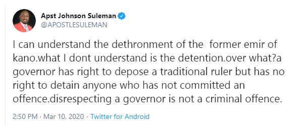 Disrespecting a governor is not a criminal offence - Apostle Suleman questions Sanusi's detainment after being dethroned 4