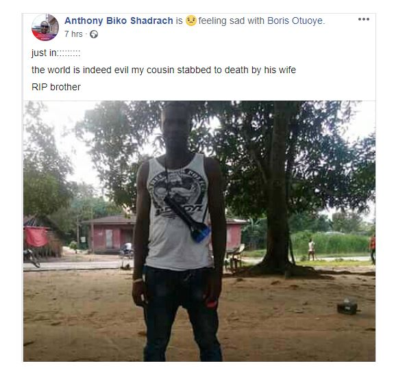 Man stabbed to death by his wife in Rivers State 6