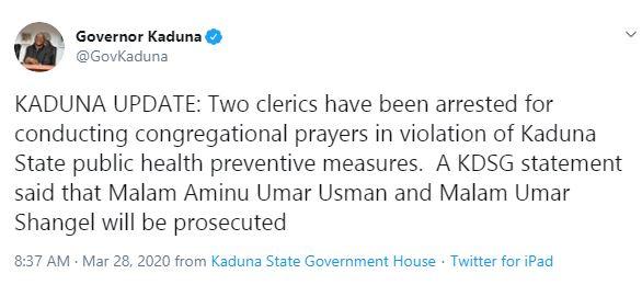 Two Islamic clerics arrested for conducting prayers in Kaduna during coronavirus lockdown 4