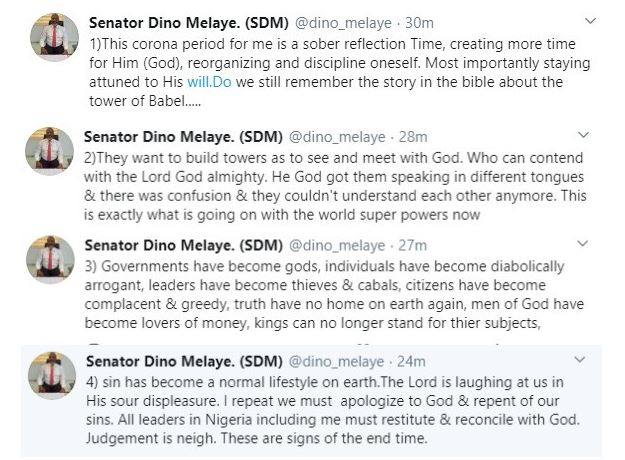 ''We must apologize to God and repent of our sins''- Dino Melaye speaks on Coronavirus pandemic, says its a sign of end time 4