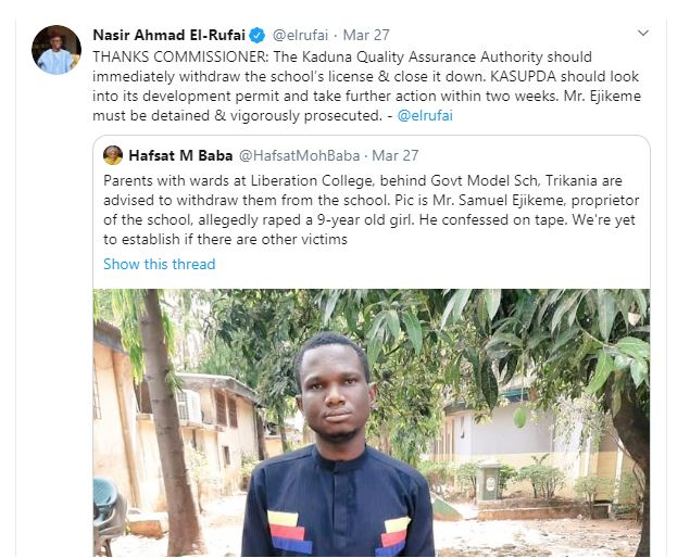 School proprietor accused of raping 9-year-old pupil in Kaduna as Governor orders closure of the School 7