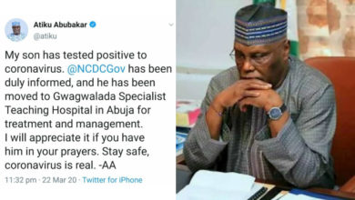 Photo of Coronavirus: Atiku's Son in Hospital after testing positive, begs Nigerians to pray for him
