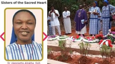 Photo of Photos from the burial ceremony of Reverend Sister Henrietta Alokha who died rescuing students in Abule Ado explosion