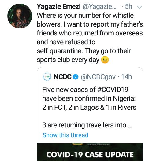 Photographer Yagazie Emezie alerts NCDC about her father's friends who go to club daily and have refused to self-quarantine after their overseas trip 8