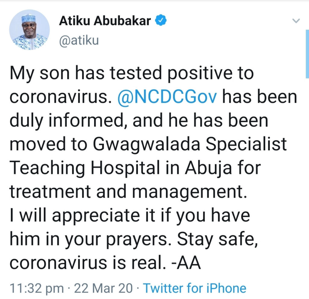 Coronavirus: Atiku's Son in Hospital after testing positive, begs Nigerians to pray for him 3