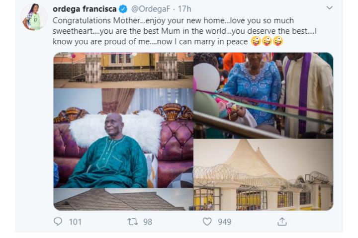 Nigerian Footballer, Francisca Ordega builds her Mum a House 4