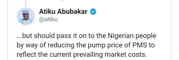 Atiku calls on FG to reduce Fuel Price 7