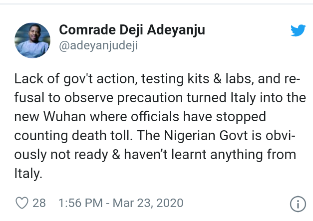 Covid-19: Nigerian Government is not ready, haven't learnt anything from Italy - Deji Adeyanju 4
