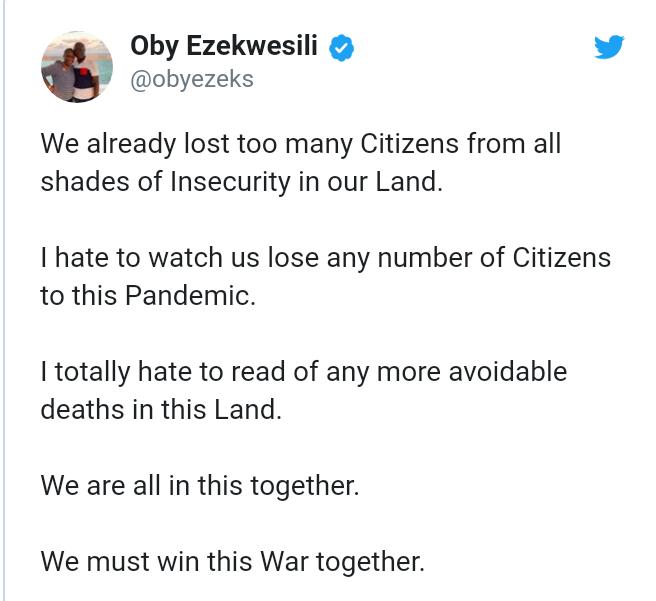Coronavirus: We must win this war together - Oby Ezekwesili mourns Nigeria's index death case 4