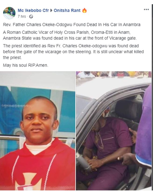Catholic priest Found dead in his Car 2