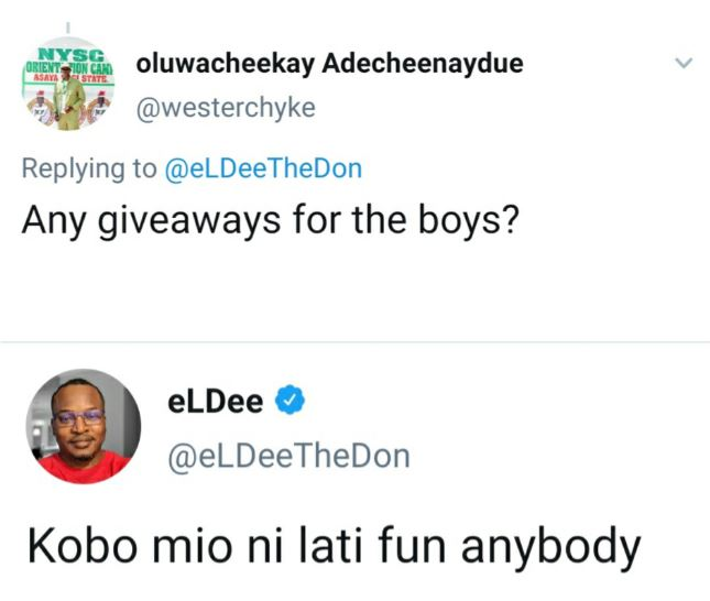 'I don't have a Kobo to give to anyone' - rapper Eldee tells a follower asking for giveaway 5