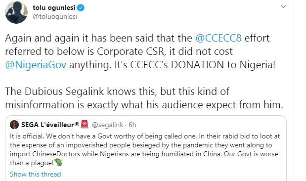 Chinese Govt treats Nigerians like Dogs yet you're masturbating over their Greek gift - Activist, Segalink slams Buhari's aide 8
