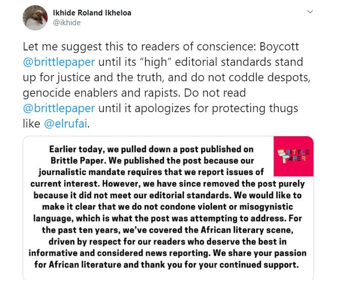 Deputy Editor of Brittle Paper fired for criticizing El'Rufai's wife's reaction after her son threatened a Twitter user with Rape 29