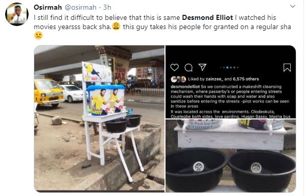 COVID 19: Nigerians Call a Desmond Elliot a Scam and Disappointment to youths over his 'plastic makeshift cleansing' project 25