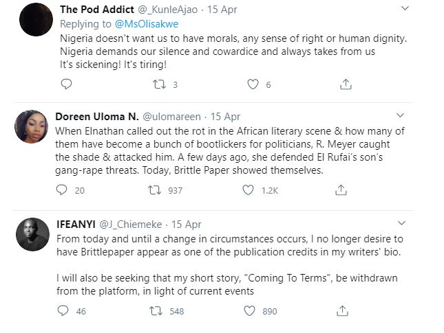 Deputy Editor of Brittle Paper fired for criticizing El'Rufai's wife's reaction after her son threatened a Twitter user with Rape 33
