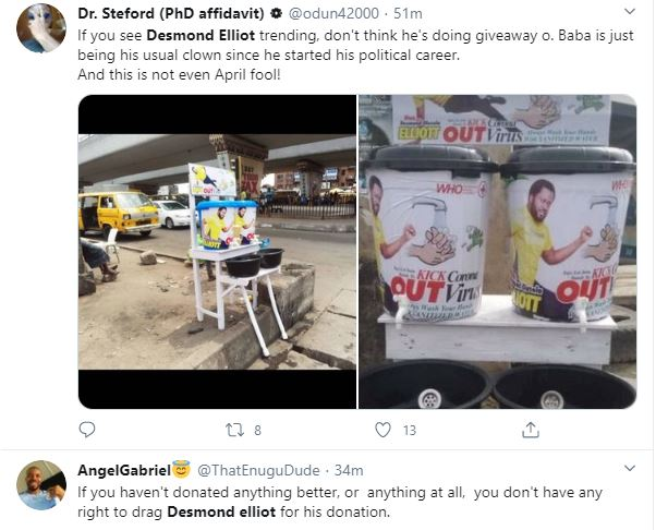 COVID 19: Nigerians Call a Desmond Elliot a Scam and Disappointment to youths over his 'plastic makeshift cleansing' project 26