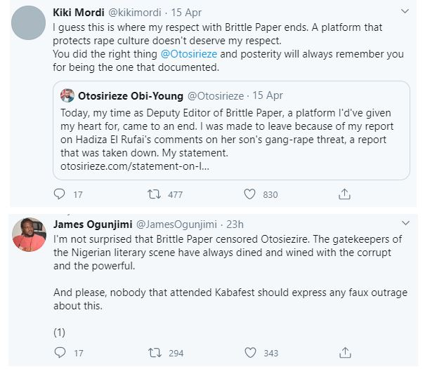 Deputy Editor of Brittle Paper fired for criticizing El'Rufai's wife's reaction after her son threatened a Twitter user with Rape 34
