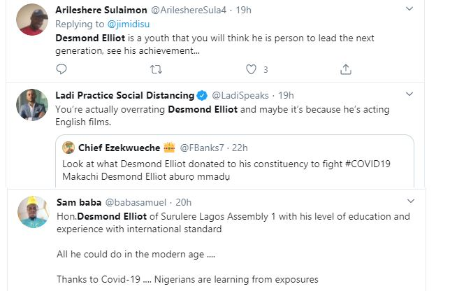 COVID 19: Nigerians Call a Desmond Elliot a Scam and Disappointment to youths over his 'plastic makeshift cleansing' project 27