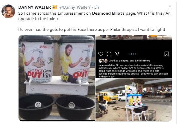 COVID 19: Nigerians Call a Desmond Elliot a Scam and Disappointment to youths over his 'plastic makeshift cleansing' project 20