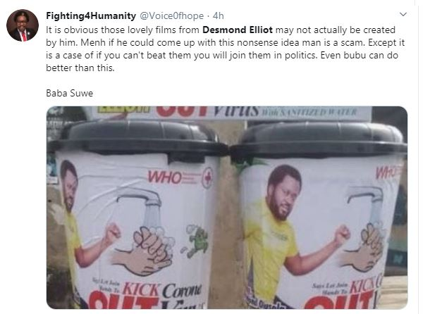 COVID 19: Nigerians Call a Desmond Elliot a Scam and Disappointment to youths over his 'plastic makeshift cleansing' project 22