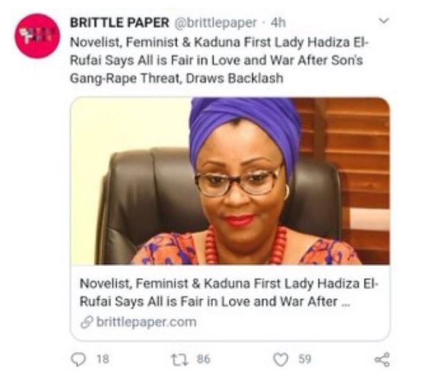 Deputy Editor of Brittle Paper fired for criticizing El'Rufai's wife's reaction after her son threatened a Twitter user with Rape 25
