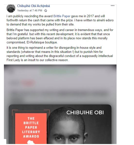 Deputy Editor of Brittle Paper fired for criticizing El'Rufai's wife's reaction after her son threatened a Twitter user with Rape 28