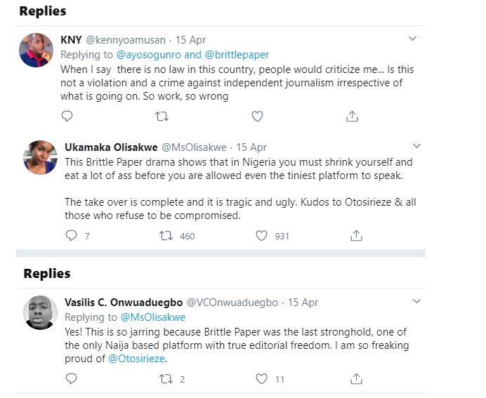 Deputy Editor of Brittle Paper fired for criticizing El'Rufai's wife's reaction after her son threatened a Twitter user with Rape 32