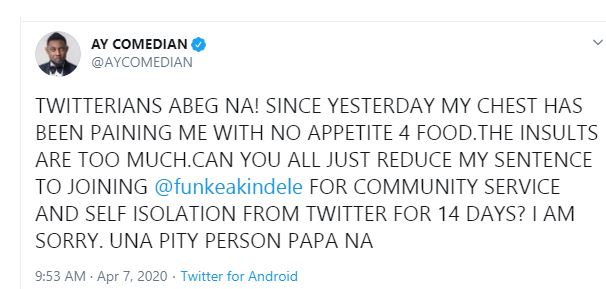 My chest has been paining me with no appetite for food - AY begs Nigerians after being dragged for defending Funke Akindele 7