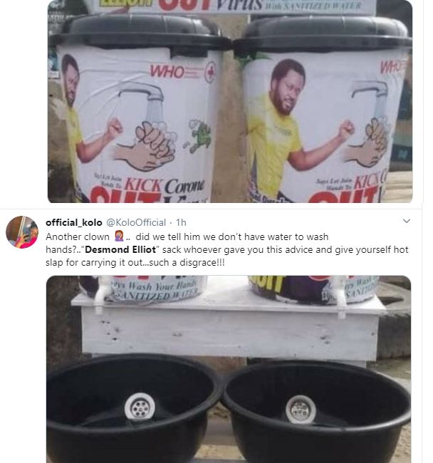 COVID 19: Nigerians Call a Desmond Elliot a Scam and Disappointment to youths over his 'plastic makeshift cleansing' project 28