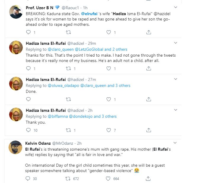El-Rufai's wife, Hadiza called out for supporting her son, Bello's threat to 'pass on a Twitter user's mother to his friends' 21