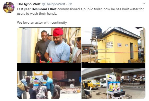 COVID 19: Nigerians Call a Desmond Elliot a Scam and Disappointment to youths over his 'plastic makeshift cleansing' project 21