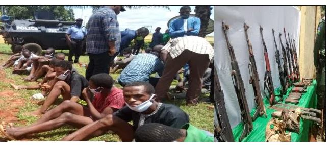 Police Parade AK-47 rifles allegedly recovered from IPOB training camps in Delta 1