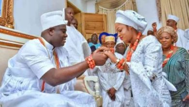 Photo of Ooni of Ife's wife, Olori Prophetess Naomi reacts to rumors that their marriage has crashed