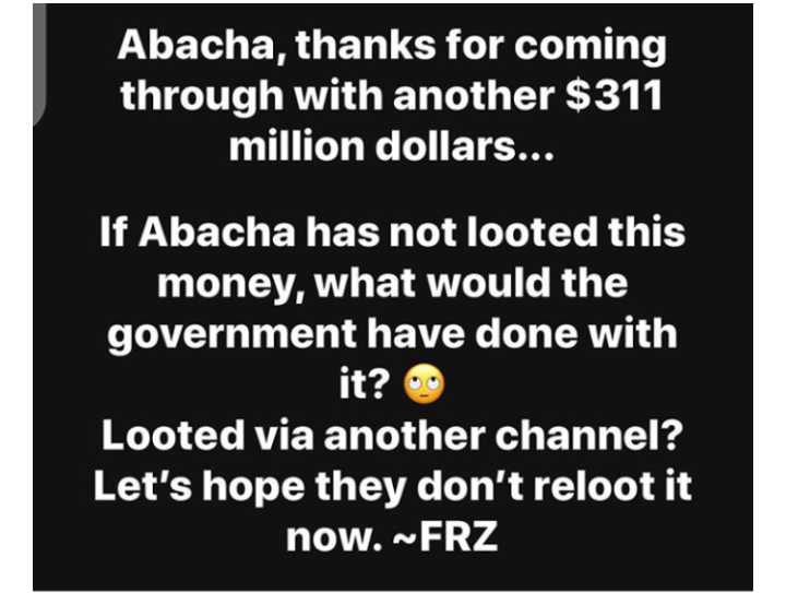 """Just when we thought we were broke, we got an alert from Abacha"" - Daddy Freeze 4"