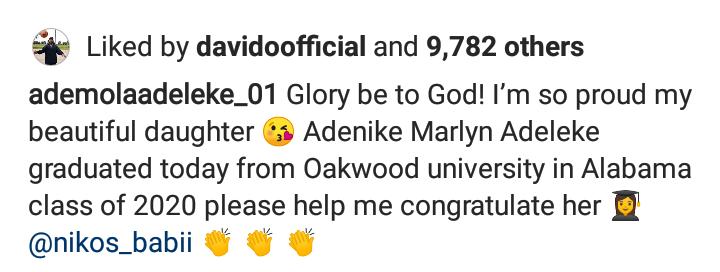 Daughter of Senator Ademola Adeleke graduates from US University despite Covid-19 7