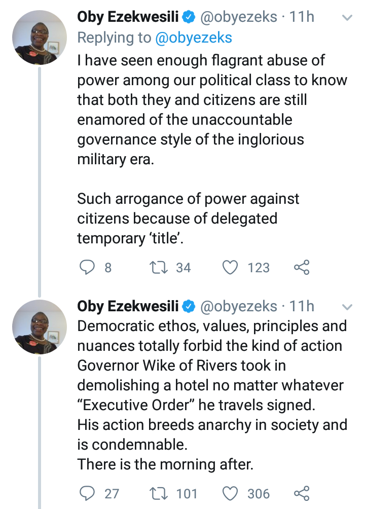 His action breeds anarchy in the Society - Oby Ezekwesili reacts to Wike's  demolition of Hotels 9