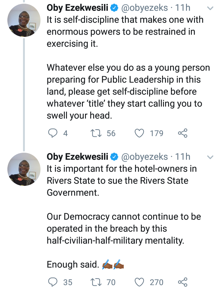 His action breeds anarchy in the Society - Oby Ezekwesili reacts to Wike's  demolition of Hotels 10