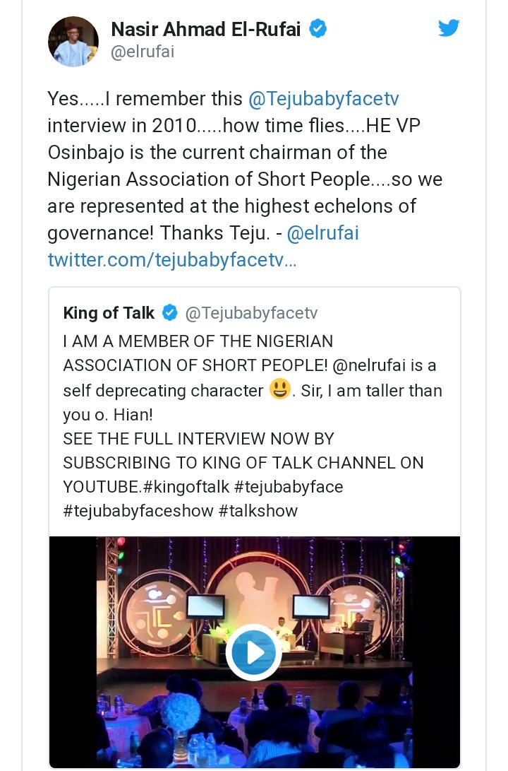 VP Osinbajo is Chairman short people association - El-Rufai jokes 2