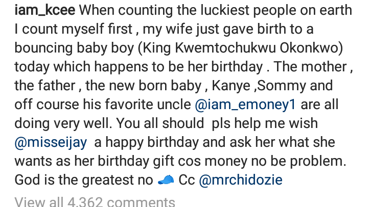 Nigerian artiste, Kcee and his Wife welcome Baby Boy on her Birthday. 3