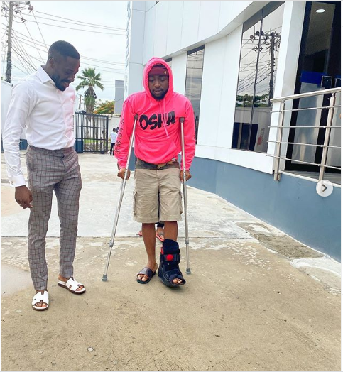 Davido fractures left Leg (Photos) 6