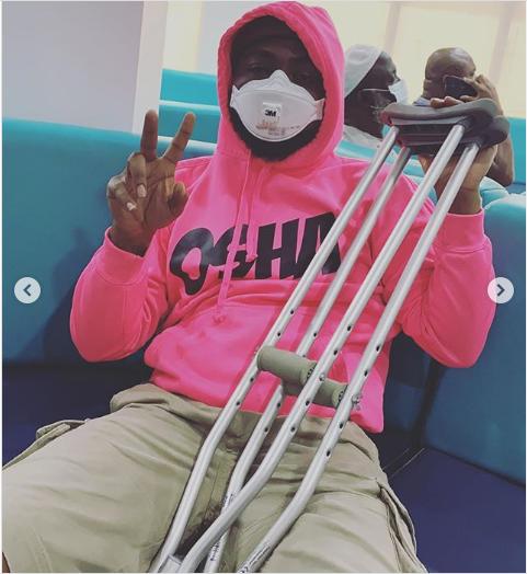 Davido fractures left Leg (Photos) 7