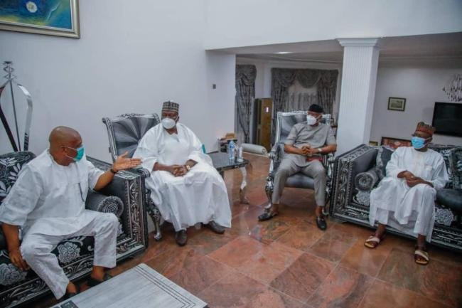 Senate president Lawan,  others visit Orji Kalu after release from Prison (Photos) 6
