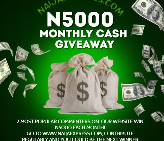 List of Winners from NaijaExpress N5000 Giveaway 1