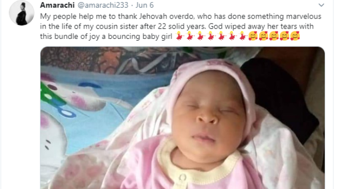 Nigerian Lady gives birth to baby girl after 22 years of marriage 1