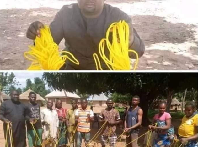 Benue State politician, Daniel Ukpera, donates ropes to his community to tie their goats 1