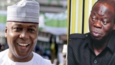 Photo of Oshiomhole: I've always known his masquerade will dance naked in the market – Saraki