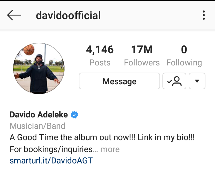 Davido unfollows everyone on his Instagram Page including Chioma 4